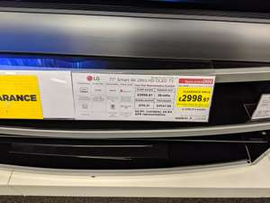 """Currys PC world  LG 77"""" OLED C8 OLED77C8LLA clearance price - £2999.97 @ Currys instore (Braehead)"""
