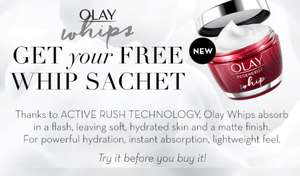 FREE Olay Whips Cream Sachet/Sample at Olay Shop