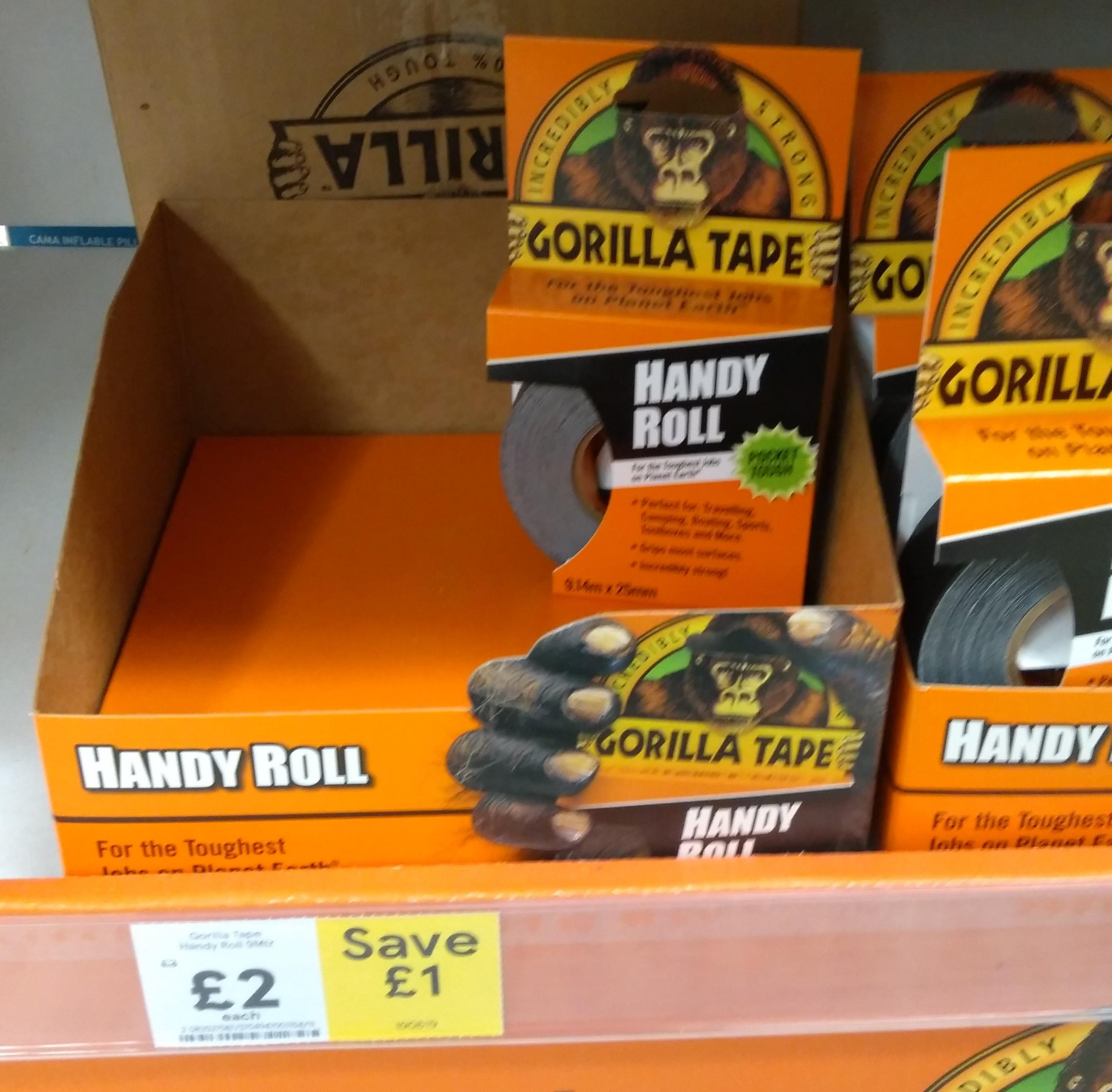 Gorilla Handy Roll Black Tape (L)9m (W)25.4mm £2 @Tesco
