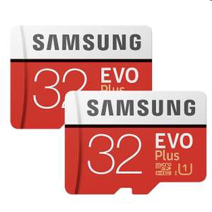 2 x Samsung Memory Evo Plus 32GB Micro SDHC Card 95MB/s UHS-I U1 Class 10 with Adapter £8.50 at Base