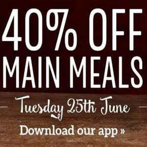 40% off all main meals 25th June e.g. Roast Dinner with unlimited veg £4.49 @ Toby Carvery (Via App)