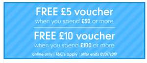 Mothercare free £5 voucher with £50 spend and free £10 voucher with £100 spend