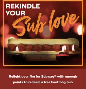 Subway giving 1000 points to redeem a free foot long or sides or drinks (Account specific)