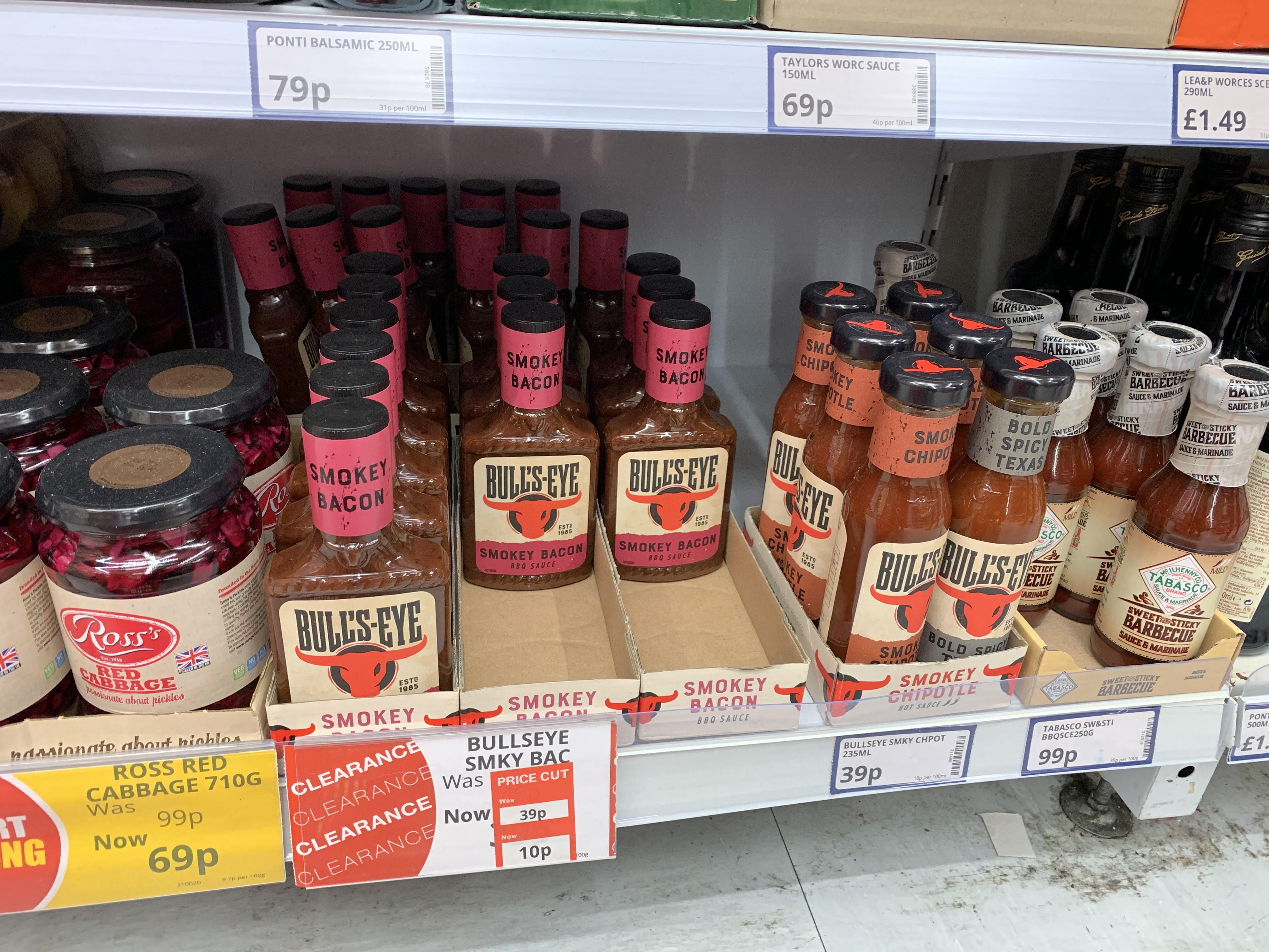 Bullseye BBQ Sauce 'Smokey Bacon' 10p at Poundstretcher Aberdeen