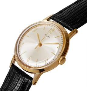 Timex Marlin Hand-Wound 34mm Gold-Tone Watch, Acrylic, 30M WR, Textured-Leather Strap, £87.50 @ Mr Porter