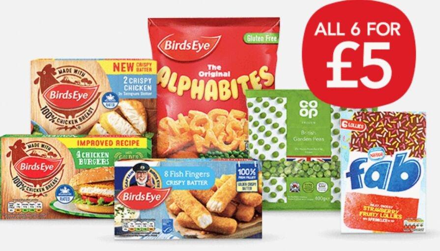 Coop Frozen Meal Deal 6 items £5 (8 Fish Fingers /  4 Chicken Burgers / 2 Crispy Chicken / Alphabites / Garden Peas / Fab Ice Lollies x 6)