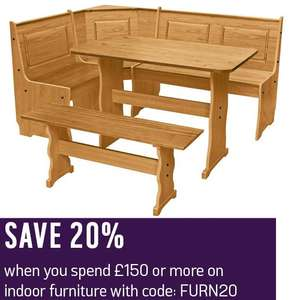 20% Off £150+ Spend on Indoor Furniture with code - EG: Puerto Rico Wood Nook Table & Bench Set £166.94 Delivered @ Argos