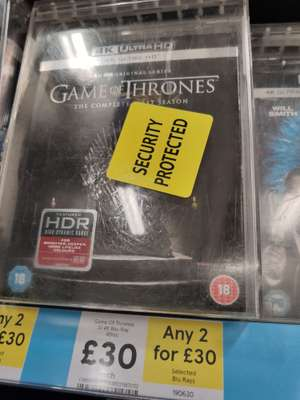 2 for £30 Game of Thrones Season 1 4K Blu-ray in-store @ Tesco - £30