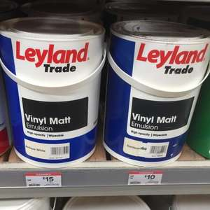 large selection of Leyland trade paints reduced to clear from £8 at B&Q instore