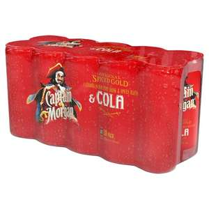 Captain Morgans 10x Rum and Coke premixed drinks Clearance £5.72 @ TESCO Burnage