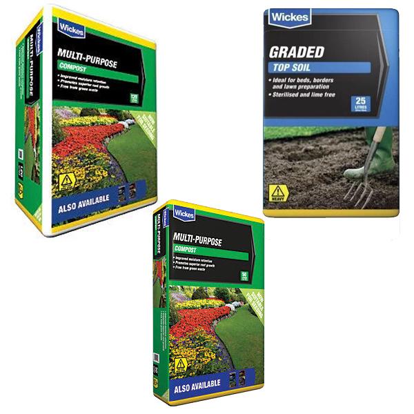 Multi Purpose Top Soil 25L - £2 / Multi Purpose Compost 50L £2.50 / Multi Purpose Compost 120L @ Wickes - Free C&C