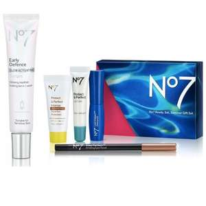 Offer Stack - 2 Free Gifts on £25 spend - Free No7 Early Defence 'Glow Activating' serum (worth £25) + FREE No7 Summer Box @ Boots