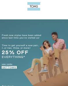Toms 25% off everything including sale!