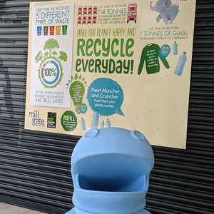 RECYCLE in Bury | FREE Water Bottle Refills / Feed Muncher and Cruncher plastic bottles for recycling, read recycling facts @ Bury Mill Gate