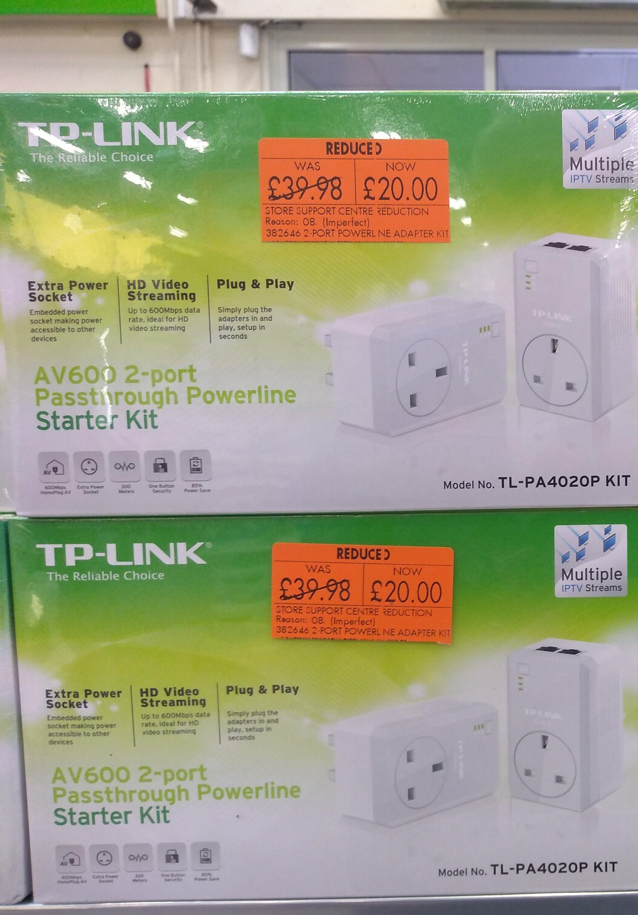 TP-Link AV600 2 port passthrough powerline starter kit £20 in Homebase Hamilton
