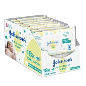 Johnson's Baby Cotton Touch Wipes - Pack of 18, Total 1008 Wipe £.9.50 + £4.49 delivery Non prime @ Amazon