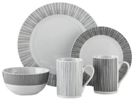 Argos Home Linear Stripe 16 Piece Dinner Set - £19.98 + Free C&C @ Argos