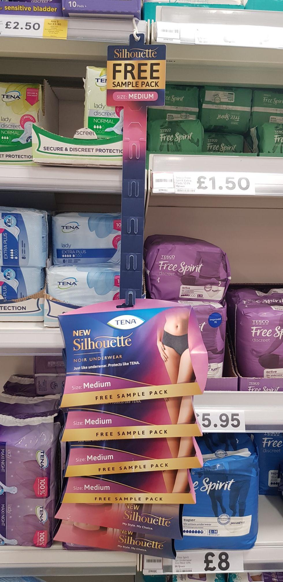 Free sample pack of Tena Silhouette medium size underwear in Tesco