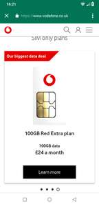 Vodafone 100gb data plan back now with £100 tcb making it (£188 for 12 month) - £24/12month - £288