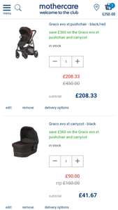 Graco Evo XT Pushchair and Carrycot - £250 @ Mothercare