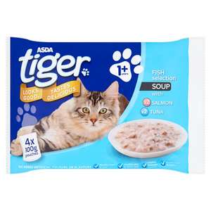 ASDA Tiger Fish or Poultry Selection Soup for cats. 60p Half price