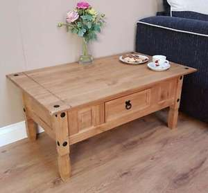 Corona Coffee Table Mexican Solid Pine 1 Drawer Livingroom by Mercers Furniture £33.19 with code @ Mercers Furniture eBay