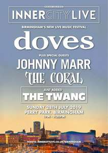 Doves, Johnny Marr, The Coral: Inner City Live, Perry Park, BIRMINGHAM £24 Groupon