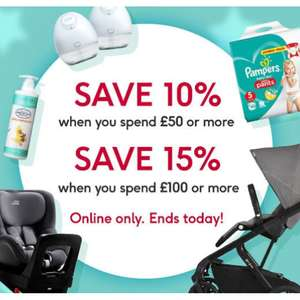 One Day Baby Event -  10% Off a £50 spend,  15% Off a £100 spend - stacks with existing offers @ Boots