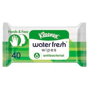 Kleenex 40 Water Fresh Antibacterial Wet Wipes £1 was £2 @ Tesco