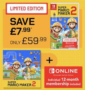 Super Mario Maker 2 + Nintendo Switch Online Buy together and SAVE £7.99