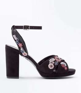 New Look wide fit suedette floral heel sandals WAS £34.99 NOW £5.00 (free c+c over £19.99)