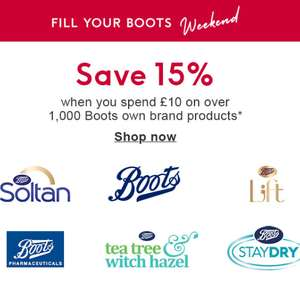 15% Off when you spend £10 on Boots own brand products - stacks with bogof, 3 for 2 offers and more @ Boots