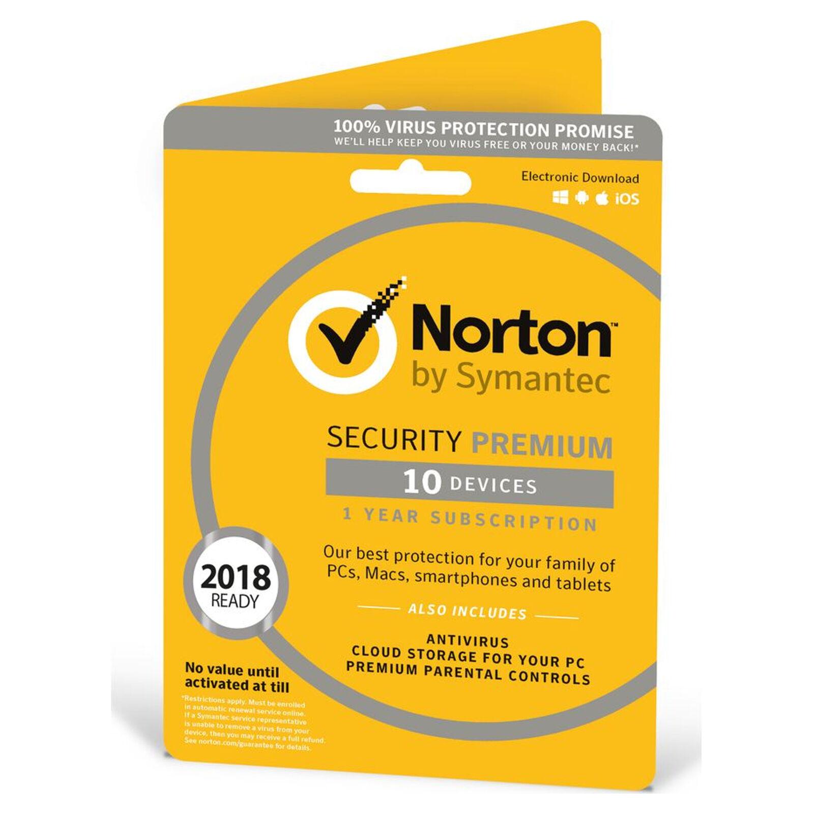 Norton Security Premium 2018 10 Devices 1 Year Antivirus - £17.74 at HughesDirect eBay