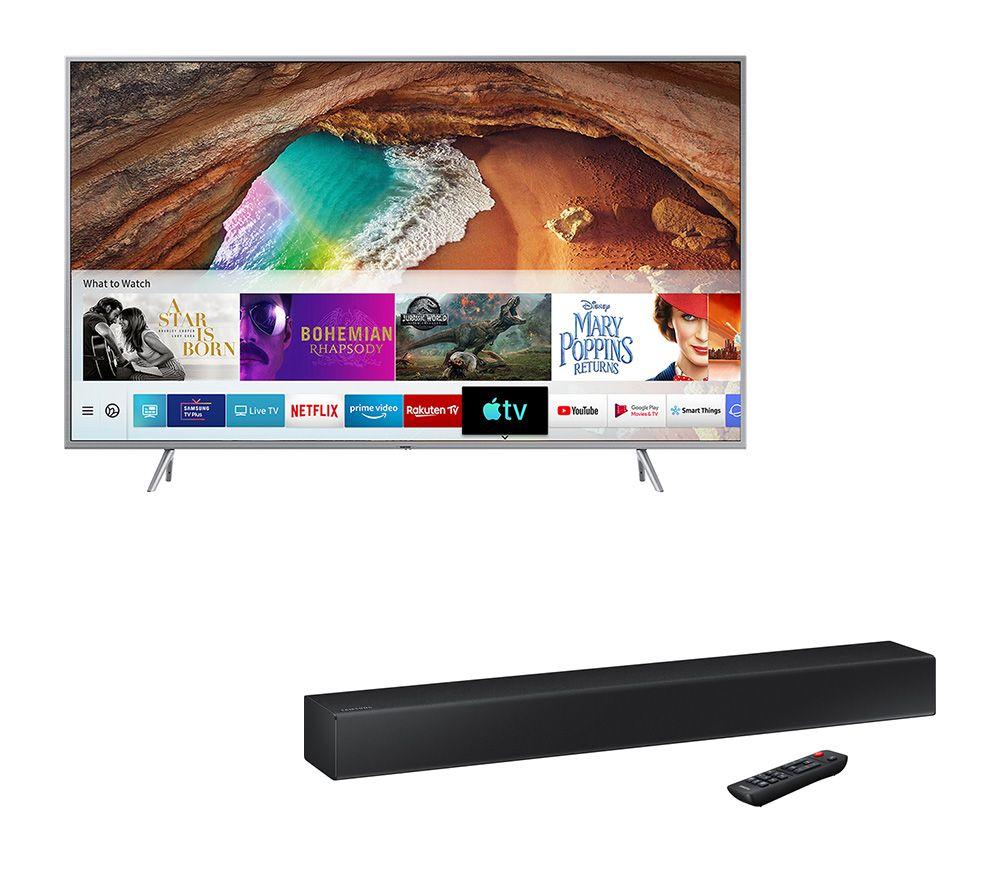 "SAMSUNG QE55Q67RATXXU 55"" Smart 4K Ultra HD HDR QLED TV & FREE HW-N300 2.0 Compact Sound Bar Bundle £999 Currys"