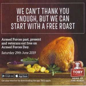 Free Meal or Breakfast TODAY  @ Toby Carvery Via App for Military Personnel on 29 June (Military id required)