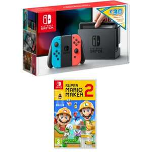 Nintendo Switch - Neon Red/Neon Blue with £30 eShop Credit Super Mario Maker 2 £299.99 @ Game