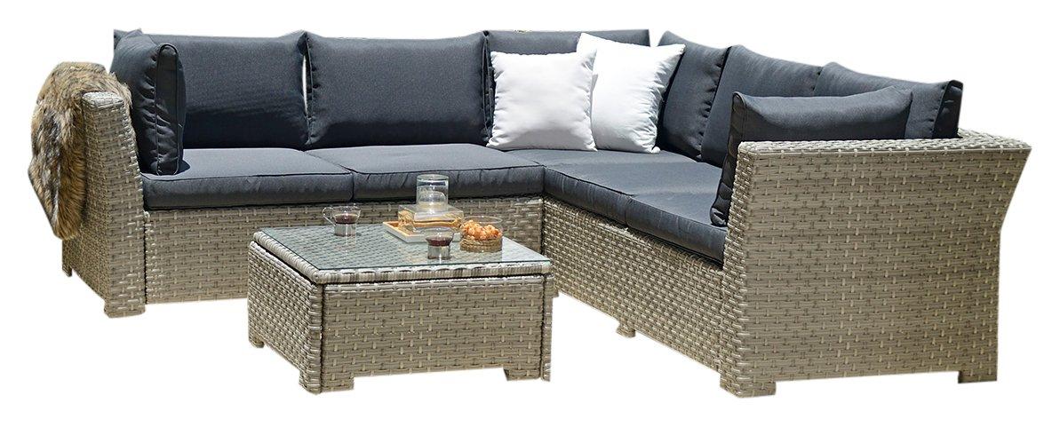 BackYard Furniture Chesterton Luxury 5 Seater Deepseating Rattan Garden Lounge Set with Cushions - £369.99 at Amazon