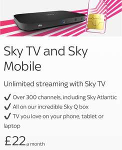 Sky Entertainment & Sky 50% off plans with unlimited mins/texts sim £22pm @ Sky