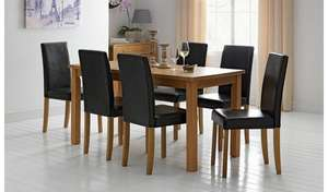Argos Home Ashdon Solid Wood Table & 6 Mid Back Chairs - 4 Colours available £207.99