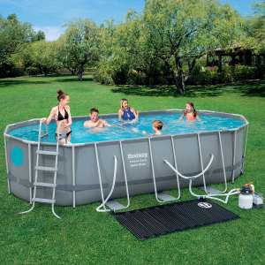 Bestway 18 x 9 ft Steel Oval Frame Pool with Sand Filter Pump, Solar Powered Pool Pad and Cover £549.99 Costco