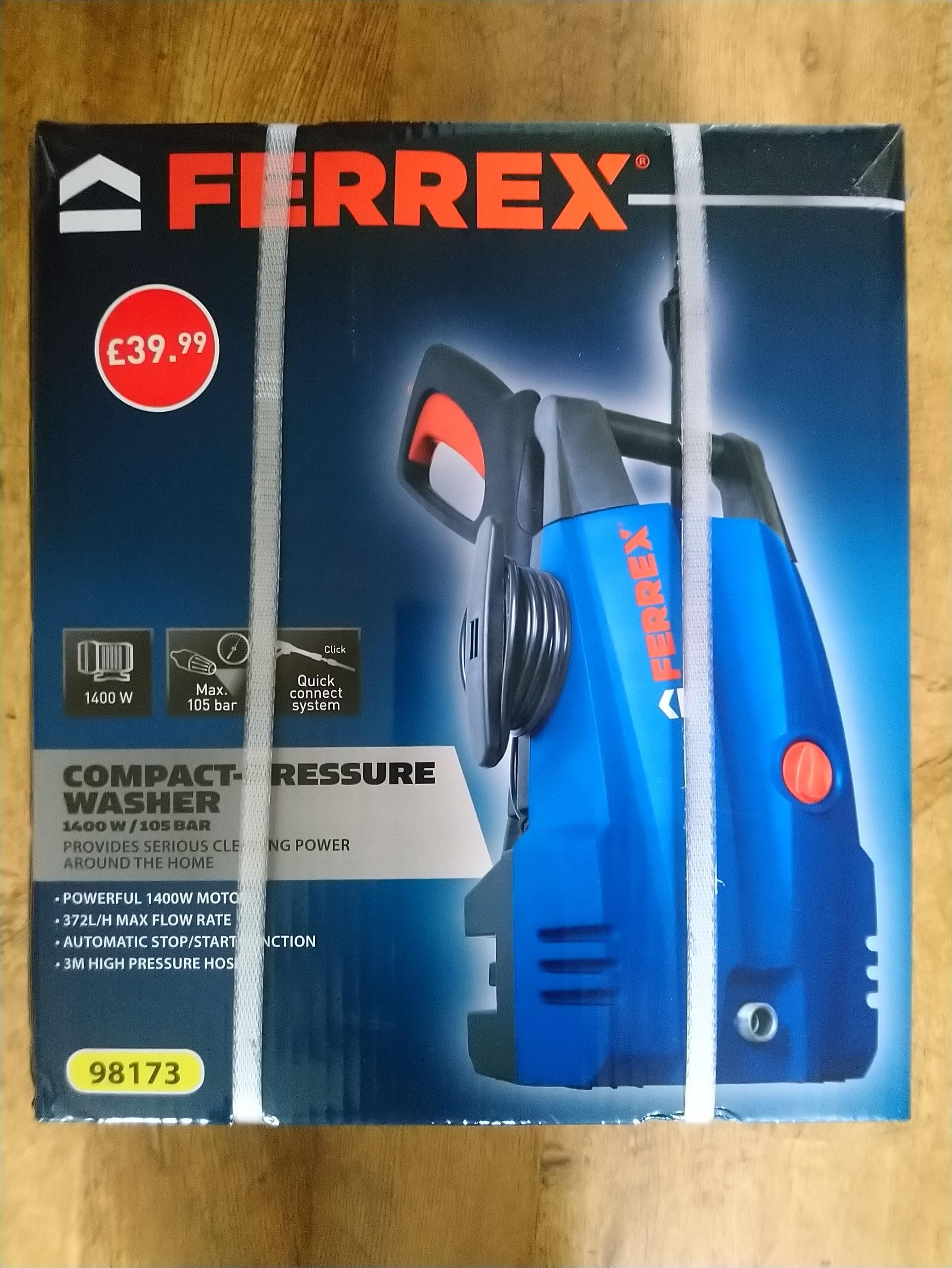 FERREX compact pressure washer 1400w 105 Bar - £39.95 instore or + £2.95 Delivery @ Aldi