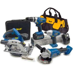 Wolf Pro Cordless 20v 8pc Power Tool Kit with Battery, Charger & Bag £166.96 + £9.98 p&p @ Manomano