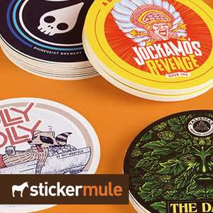 10 Custom Coasters for 60p Delivered @ Stickermule