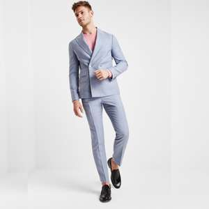 a2ec523f9f Mens London Premium Slim Fit Soft Blue Textured Double Breasted Suits  £99.95 @ Moss Bros