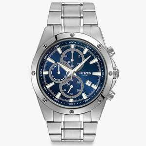 Citizen AN3530-52L Men's Chronograph Date Bracelet Strap Watch, Silver/Blue, £79.50 at John Lewis and partners