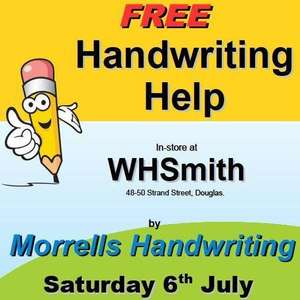 FREE help with handwriting in-store @ WHSmith 48-50 Strand Street, Douglas on Saturday 6th July 2019 10am - 4pm