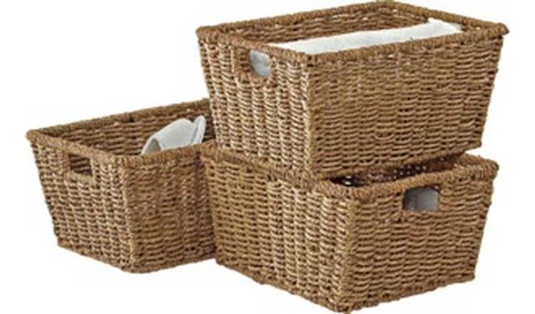 Argos Home Set of 3 Seagrass Storage Baskets - Natural @ Argos Free C&C £9.49