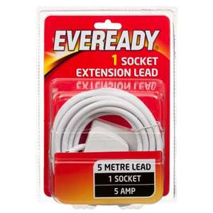Eveready 1 Socket Extension Lead 5 metres for £1 @ B&M