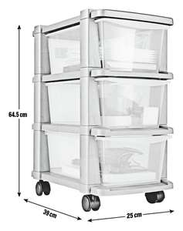 Argos Home 3 Drawer Slim White/Silver Tower Plastic Storage Unit £7.49 (5 Drawer for £12.49) @ Argos (Free C&C)