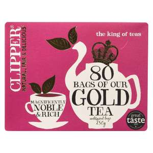 Clipper Gold 80 Teabags 250 g (Pack of 6) @ Amazon £4.99 Prime £9.48 Non Prime